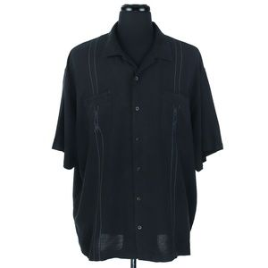 Tommy Bahama XXL S/S Camp Shirt - Black